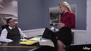 Energized office MILF is cautious of her dose of blarney