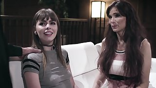 Kinky married team of two talk a young woman into having a trio
