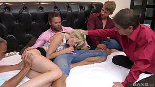 Emaciated blonde sucks a bunch of dicks in a flawless home orgy