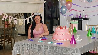 Birthday girl receives dick to pump her tiny holes and cream her