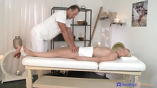 Sexual look up to scenes of soft massage for a young blonde