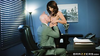 Sexy MILF goes full mode on will not hear of boss's huge dong