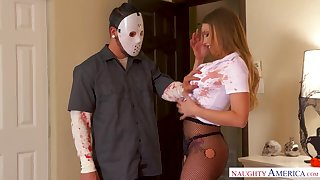 Horny masked robber is shocked painless he gets a careful blowjob from Britney Amber