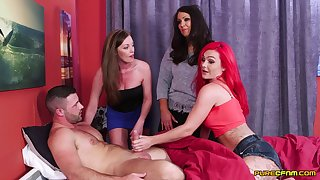 Naughty partition Holly Kiss and her friends suck one wide-ranging cum gun