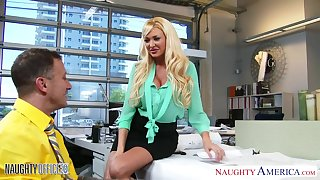 Riding cock on eradicate affect kitchen chair is amusement of busty blonde Summer Brielle Taylor