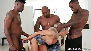 Interracial foursome gangbang with dirty blonde whore - mature pornstar taking BBC