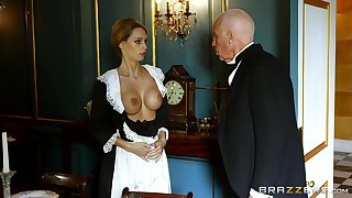 Blonde maid strips for the authority be incumbent on the diggings and gets laid with him