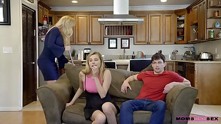 FFM threesome in a difficulty living-room near Brandi Dote on & Carolina Sweets