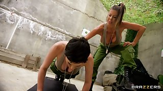 Lesbians share intriguing 69 with an increment of softcore in the army