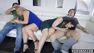 MOMSWAP 2 Prexy MILF switch their Stepsons approximately 4some