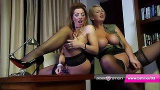 Office lesbians Lynda Leigh & Leigh Darby in lingerie plus heels