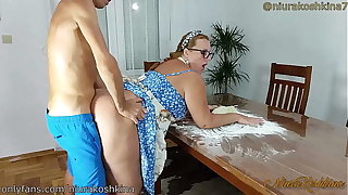 Pregnant Channel on the way Mom Gets A Fuck From Her Son Right In Her Kitchen  - MILF NiuraKoshkina