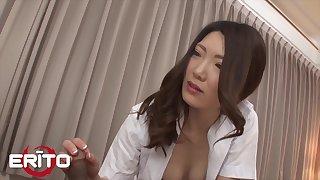 Beautiful Japanese Milf Nurse Rides Patient's Flannel