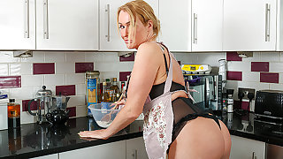 British Milf with first-rate ass gets naked during under way added to masturbates