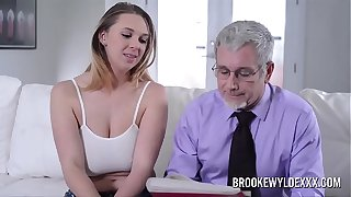 Beautiful young girl with big boobs fucked by a old man for Money