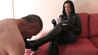 All naked submissive pale dude has to suck feet of The Hunteress