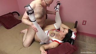 Big ass nurse fucked by experienced man and made almost swallow jizz