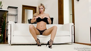 Mouth watering Czech babe Nathaly Cherie tells XXX stories in sexy lingerie