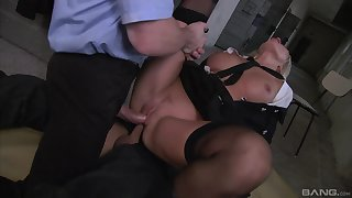 Milf gets double fucked by two masked men more huge dicks