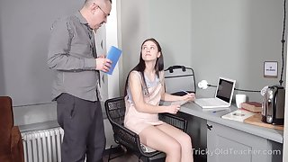 Tall cute coed Nikka Hill have planned study how to fuck a man