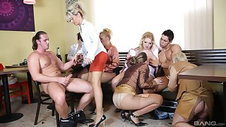Clothed glamour pornstars suck one locate and round flexuosities riding it