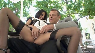 Man fucks the horny demoiselle and cums on her shaved cunt