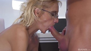 Mature likes to soak the nephew's dick relating to her close-knit pussy