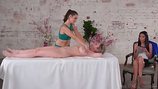Massage leads these aroused women to a fantastic oral play