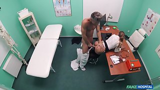 Doctor suits this babe's sexual needs after stripping her